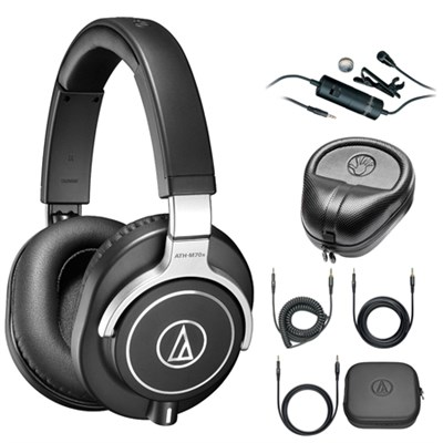 Professional Monitor Headphones Black ATH-M70X with Microphone Bundle