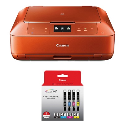 PIXMA MG7520 Color Wireless All-in-One Inkjet Orange Printer 4 Ink Pack Bundle