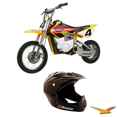 MX650 Dirt Rocket Electric Motocross Bike with Razor Full Face Helmet