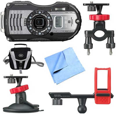 WG-5 GPS 16MP Digital Camera Gunmetal Gray Action Bundle