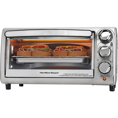 4-Slice Stainless Steel Toaster Oven w/ Bagel Mode - 31142