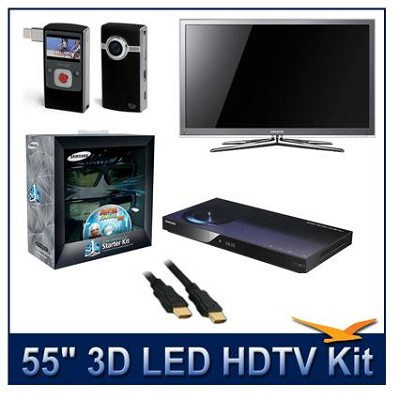 UN55C8000 - 55` 3D 1080p 240Hz LED w/3D Glasses & BluRay Player & Flip Camcorder