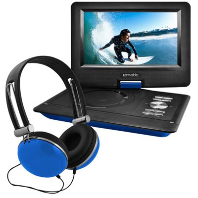 10` Portable Swivel Screen DVD Player w/ Headphones, Car Mount - Blue