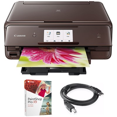 PIXMA wireless Color Printer, Scanner & Copier Brown + Paint Shop & Cable