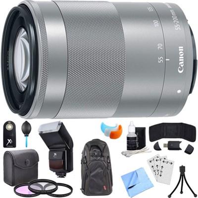 EF-M 55-200mm f/4.5-6.3 IS STM Lens w/ 49mm Filter Set + Flash Bundle