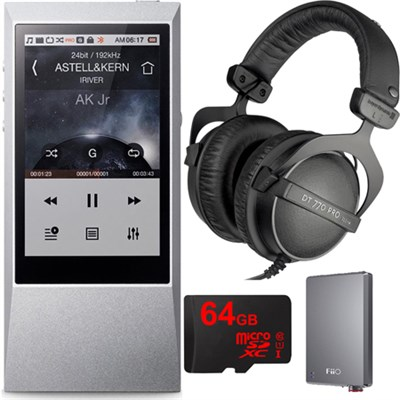 AK Jr. Hi-Res 64GB Music Player w/ Headphones + Amp + 64GB microSDXC Card Bundle