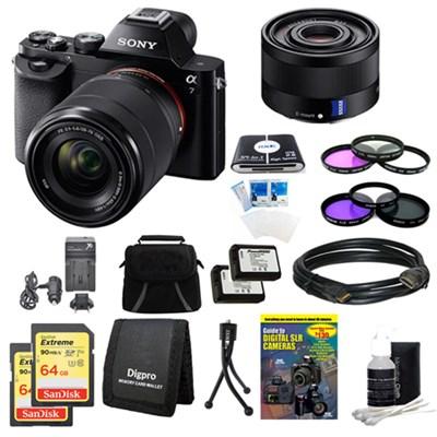 Alpha 7K a7K Digital Camera, 35mm Lens, 2 64GB SDXC Cards, 2 Batteries Bundle