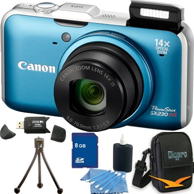 PowerShot SX230 HS Blue Digital Camera 8GB Bundle