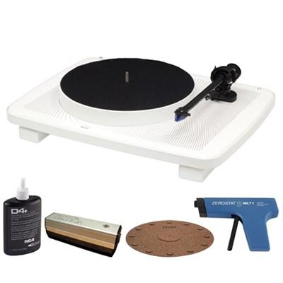 Split-Plinth Design Belt Driven White Turntable w/ Record Cleaner Kit