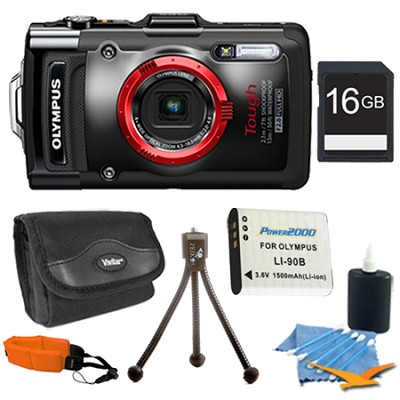 TG-3 iHS (Black) Camera with 4x Optical Zoom and 3-Inch LCD 16gb Super Bundle