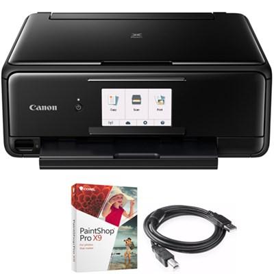 PIXMA TS8120 Wireless Printer w/Scanner & Copier Black + Paint Shop Bundle