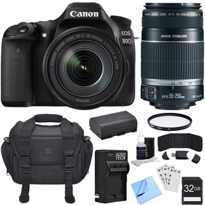 EOS 80D CMOS DSLR Camera w/ EF-S 18-135mm Lens + 55-250mm Telephoto Lens Bundle