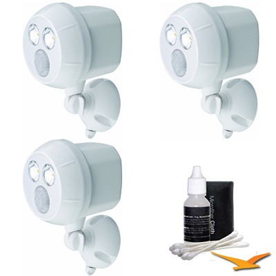 300-Lumen Wireless Battery Powered LED Ultra Bright Spotlight 3-Pack (White)