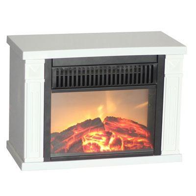 Comfort Glow Bookshelf Mini Fireplace in White - EMF162