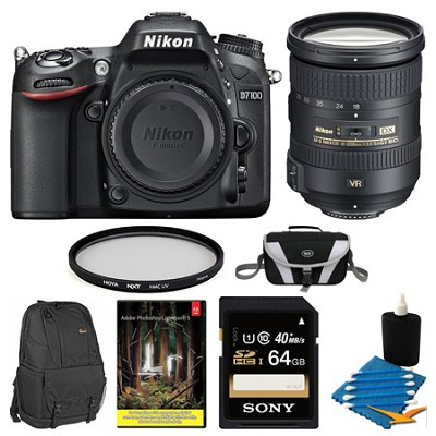 D7100 DX-Format Digital HD-SLR Body 64GB SD and 18-200mm Lens Bundle with Adobe
