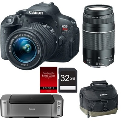 T5i DSLR w/  18-55 STM Lens & 75-300 Lens + Pro 100 Printer, Paper, Case & Card