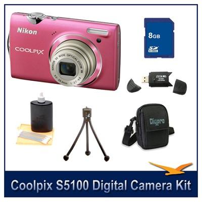 COOLPIX S5100 Pink Digital Camera Kit w/ 8 GB Memory, Reader, Tripod, & More