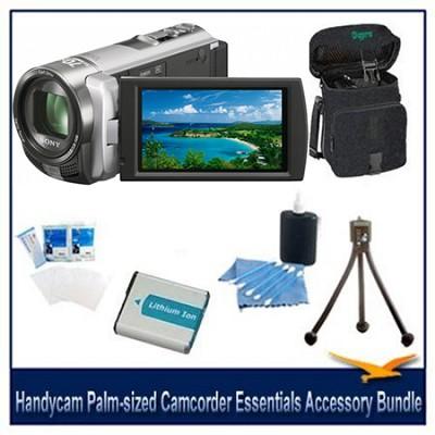 Handycam DCR-SX45 Palm-sized Silver Camcorder Essentials Accessory Bundle