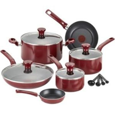 C514SE Excite Nonstick Thermo-Spot Dishwasher&Oven Safe Cookware Set, 14-Pc, Red
