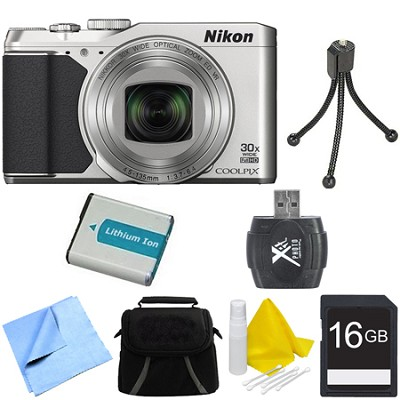 COOLPIX S9900 16MP HD 1080p 30x Opt Zoom Digital Camera - Silver Deluxe Bundle