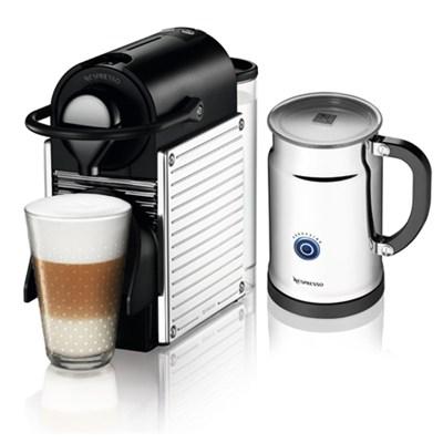C60-US-SS-NE Pixie Espresso Maker with Aeroccino Plus Milk Frother, Chrome