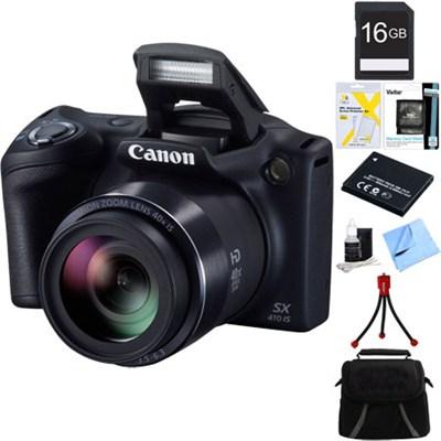 Powershot SX410 IS 20MP 40x Optical Zoom Digital Camera 16GB Bundle - Black