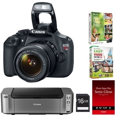 EOS Rebel T5 18MP DSLR Camera w/ 18-55mm Lens with Pro 100 Printer & more