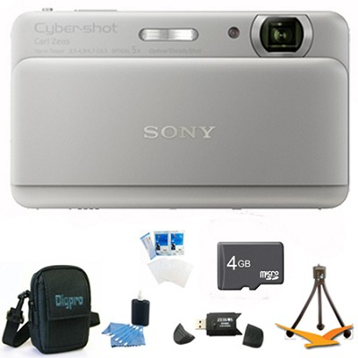 Cyber-shot DSC-TX55 Silver Slim Digital Camera 3.3` OLED Touchscreen w/ 4GB Kit
