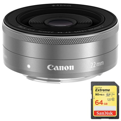 EF-M22mm F2 STM (SL) Camera Lens with Sandisk 64GB Memory Card