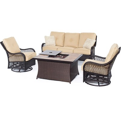 Orleans 4-Piece Woven Fire Pit Set in Sahara Sand - ORLEANS4PCFP-TAN-B