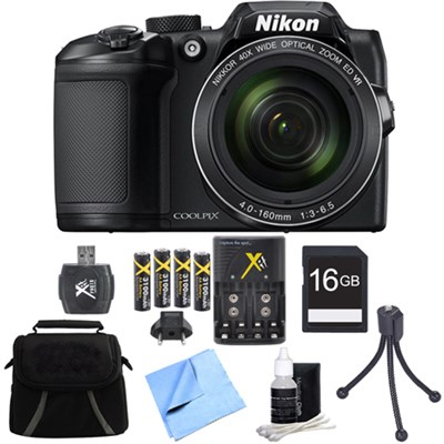 COOLPIX B500 16MP 40x Optical Zoom Digital Camera 16GB Accessory Bundle - Black