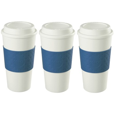 16-Ounce Capacity Acadia Reusable To Go Mug - Blue (2510-9966) 3 Pack Bundle
