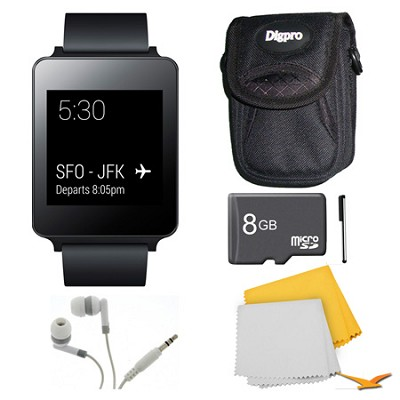 Android Wear Black Smart G Watch, 8GB Card, and Case Bundle