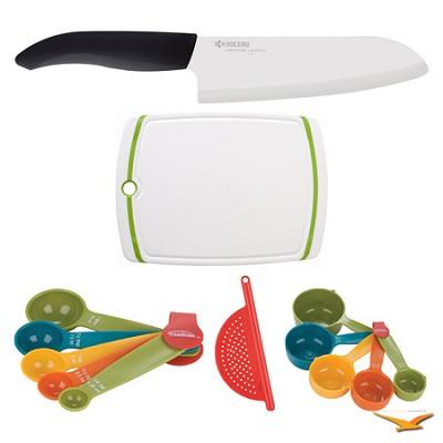 Revolution 6-1/4` Chef's Knife, Cutting Board, Measuring Sets, Drainer Bundle