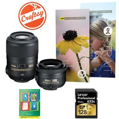 Macro and Portrait 2 Lens Kit with 85mm & 35mm Lenses + 128GB Card & More