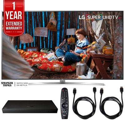 SUPER UHD 75` 4K HDR Smart LED TV w/ Blu-ray Player + Extented Warranty Bundle