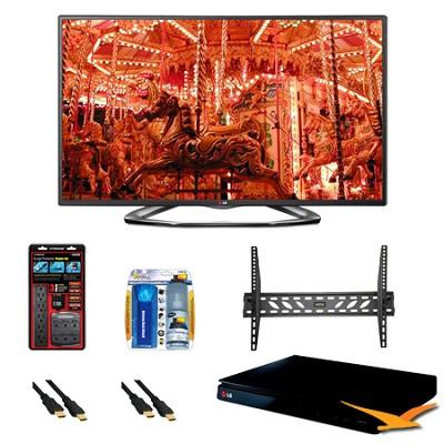 50LA6200 50` 1080p 3D Smart TV 120Hz Dual Core 3D Direct LED BluRay Bundle