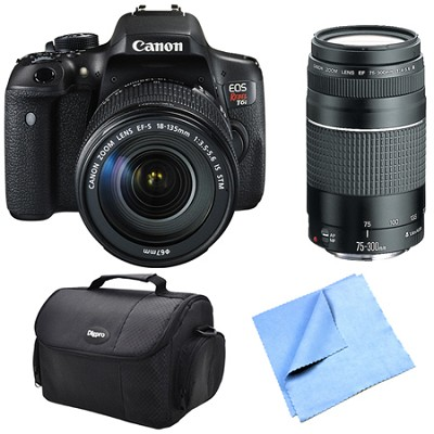 EOS Rebel T6i Digital SLR Camera with 18-135mm STM and 75-300mm Lens Bundle