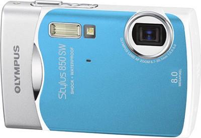 Stylus 850 SW 8MP Shockproof Waterproof Digital Camera (Cool Blue) - REFURBISHED