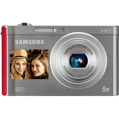 DV300F 16 MP 5X Wi-Fi Dual View Digital Camera - Silver/Red - OPEN BOX