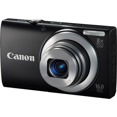 A4000 IS 16MP Black Digital Camera 8x Optical 28mm Wide-Angle Lens