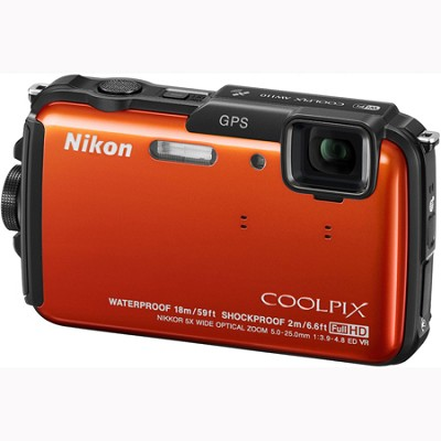 COOLPIX AW110 Waterproof 16MP Camera w/ WiFi & GPS (Orange) Factory Refurbished