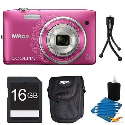 COOLPIX S3500 Pink Digital Camera 16GB Bundle