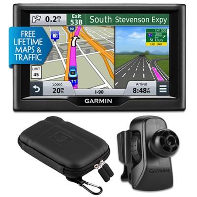 nuvi 57LMT 5` Essential Series 2015 GPS Maps/Traffic Vent Mount & Case Bundle
