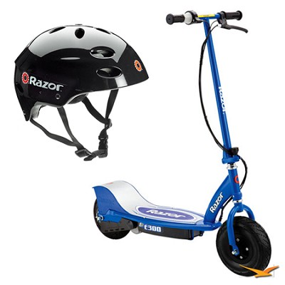 E300 Blue Electric Scooter and Youth Multi-Sport Black Helmet Bundle