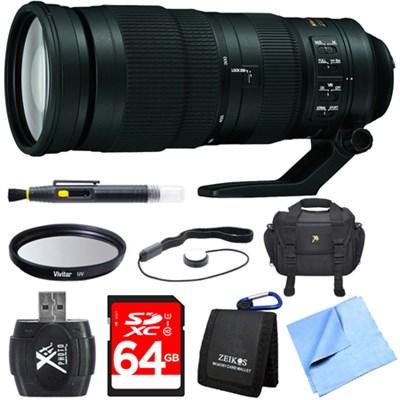 200-500mm f/5.6E ED VR AF-S NIKKOR Zoom Lens for Digital SLR Camera 64GB Bundle
