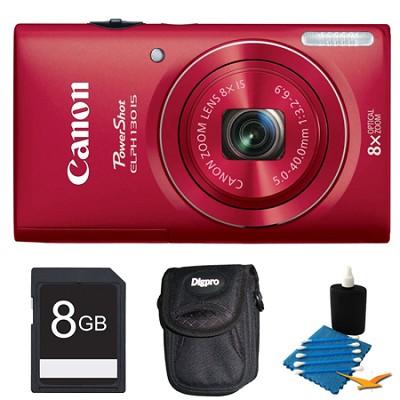 PowerShot ELPH 130 IS Red 16MP Digital Camera 8GB Bundle