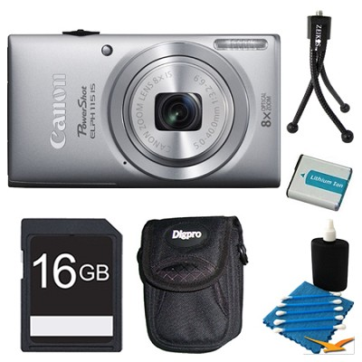 Powershot ELPH 115 IS Silver Digital Camera 16GB Bundle