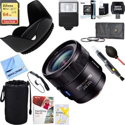 24mm f/2.0 Wide Angle A-Mount Lens for Sony Alpha DSLR's +64GB Ultimate Kit