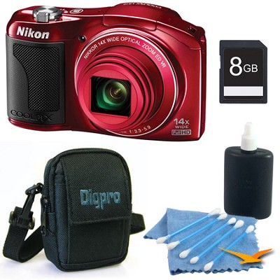 COOLPIX L610 16MP 3.0-inch LCD Red Digital Camera Kit